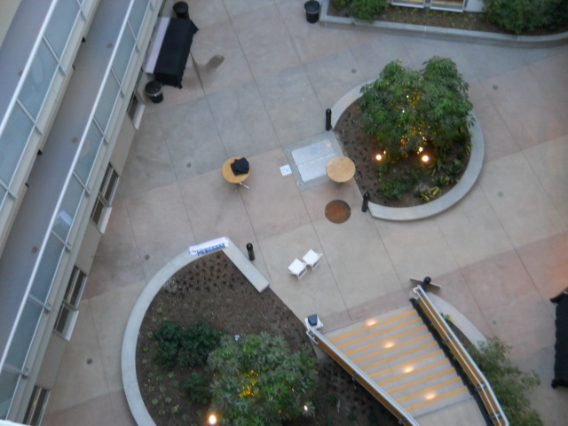 Courtyard view from top floor of the New Genesis