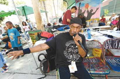 OG Man on the mike for SKIDROW 3ON3 Streetball in Gladys Park
