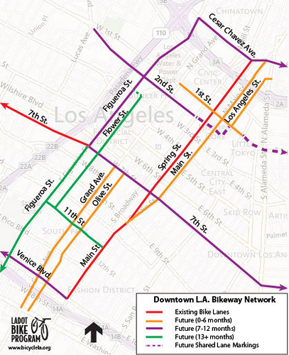 Purple line along 7th shows where a new bike lane will be