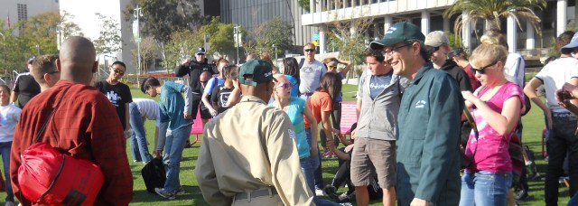 The Kings Academy folks and Operation face-Lift/Skid Row meet up at the new Grand Park last weekend