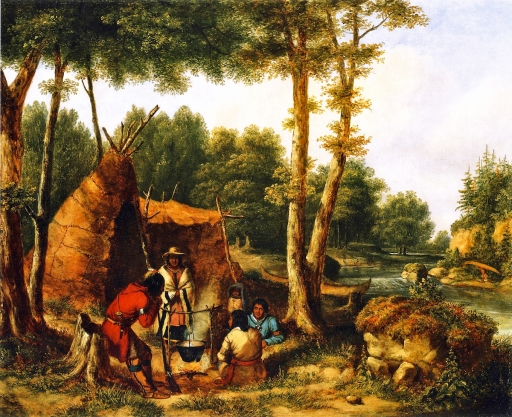 Cornelius Krieghoff - Indian Encampment by a River (ca. 1850)
