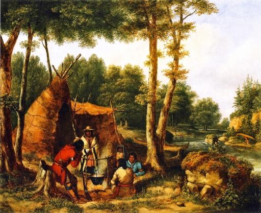 Cornelius Krieghoff - Indian Encampment by a River (ca. 1850)