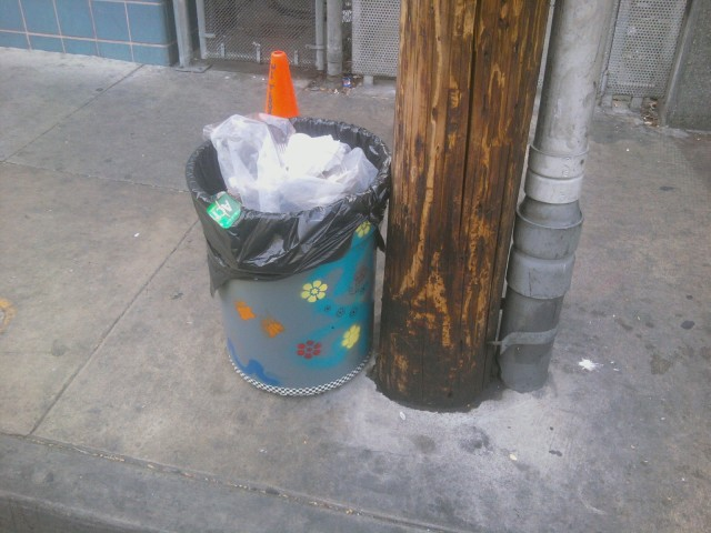 """Funky Trash Can"" nestled in it's new home in Skid Row!"