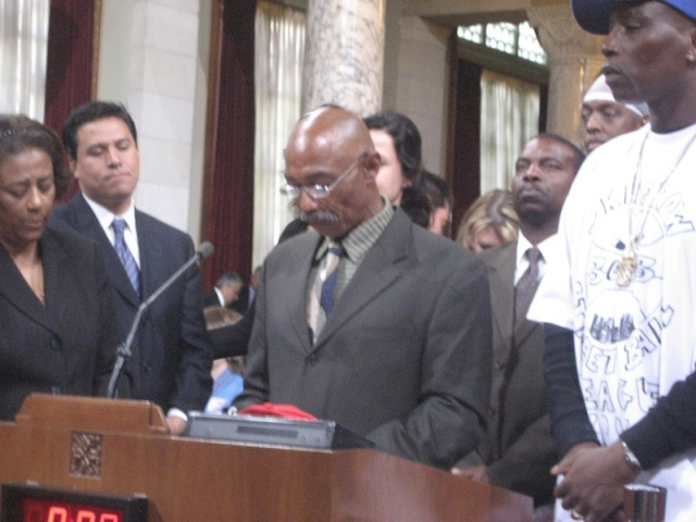 OG Man accepting an award at City Hall for the Skid Row 3ON3 Streetball Leaugue